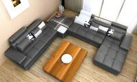 **Modern Leather Sectional with Storage! Free Shipping**