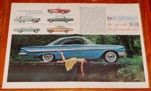 BIG 1961 CHEVY IMPALA COUPE BEL AIR CORVETTE AD / ANONCE 60S