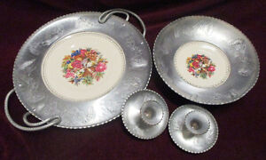 Vintage Wrought Farberware Tray&Bowl w/ Triumph Limoges Plate w/