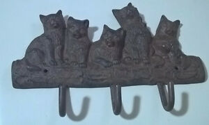 Vintage Cast Iron Cat Family Key Holder Coat Hanger Wall Mounted
