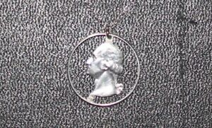 Silver Coin Tramp Art Pendant with 18in Sterling Necklace