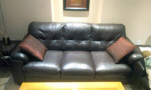 2 Piece Leather Couch Sofa Set