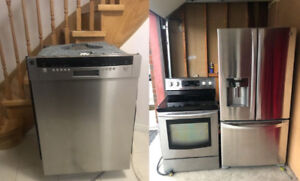 Stainless steel fridge,stove,drishwasher for sale