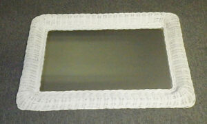 "White Wicker Framed Mirror 15"" x 25"" Wall Hanging"