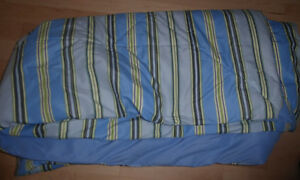 11 pillowcases, bed skirts (twin, double) $2 ea, twin duvet $10