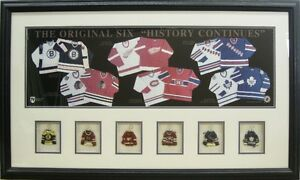 Original 6 N.H.L. Hockey Framed Picture
