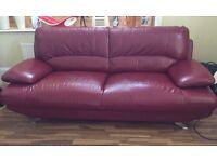 leather Italian mid century style 3 seater sofa