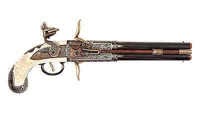 Colonial 1750 Double Barrel Over-Under Flintlock Pistol - Denix Replica