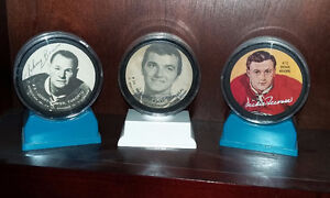 3 Rondelles de hockey signées BOWER TREMBLAY MOORE