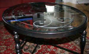 Oval beveled glass & wrought iron coffee table
