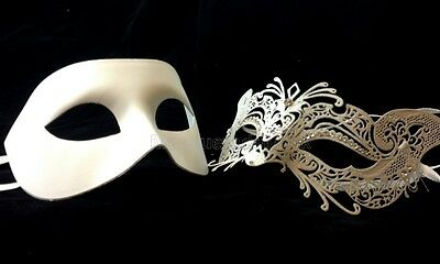 Couple Masquerade Ball Kitty Cat Mask Black White Gold Costume dress Prom Party - Couple Cat Costumes