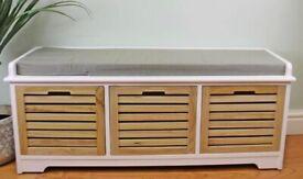 White & Natural 3 Drawer Storage Bench With Grey Cushion