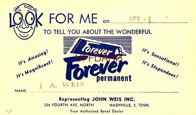 LOOK FOR ME ON APR 1, 1954 J A WEIS NASHVILLE, TN Authorized Motor boat Dealer