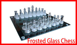 New Large Elegant 35 x 35 cm Frosted Glass Chess Board Game Set (Chess-Large)