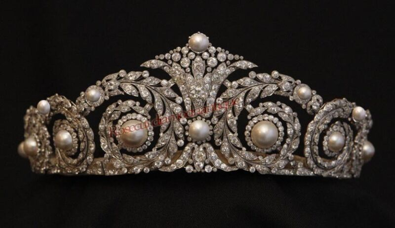 VINTAGE ANTIQUE ROSE CUT DIAMOND 12.15ct SILVER PEARL ENGAGEMENT TIARA CROWN