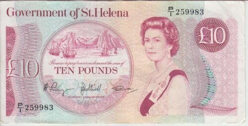 St. Helena banknote P8b 10 Pounds sig 3, QE II, VF, We Combine