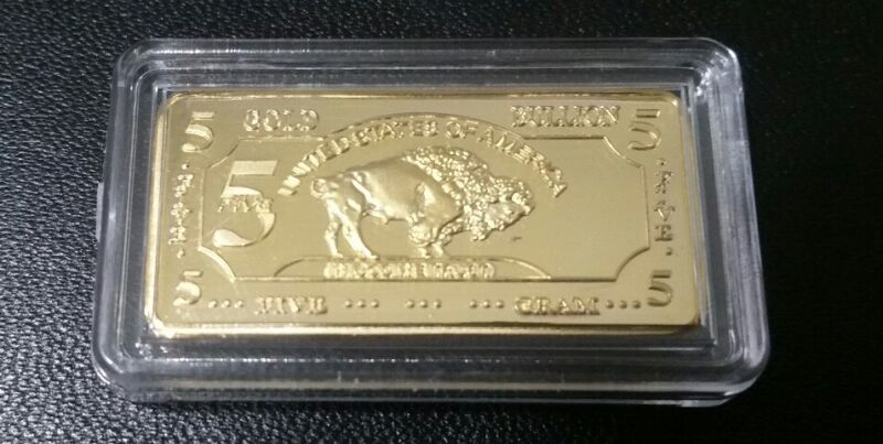 5 GRAM 100 MILLLS GOLD BUFFALO BULLION BARS .999 FINE 24K BULLION