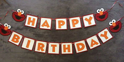 Elmo Happy Birthday Banner. Can Be personalized With Name/age. Hand made.