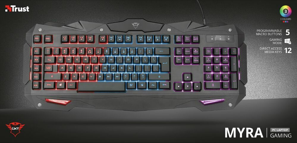 20b81c4e172 Trust GXT 840 Myra Gaming Keyboard with Trust GXT 130 Ranoo Wireless Gaming  Mouse