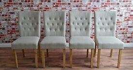 Chesterfield Style Dining Chair with Stone Upholstery Button-Back Oak - Many Quantities Available!