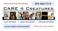 CAT SITTING- DOG WALKING - NW CALGARY - Care 4 Creatures.
