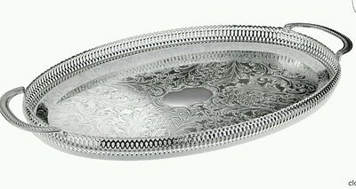 Silver Plated Oval Gallery Tray Serving Tray Tarnish Resistant Made In UK