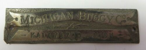 Vintage Antique MICHIGAN BUGGY CO Tag Name Plate Maker Carriage KALAMAZOO