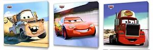 Disney Cars Kids canvas wall art plaque pictures set of three pack 1