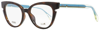 Fendi Cateye Eyeglasses FF0134 N9D Havana/Crystal/Blue 50mm (Fendi Eyeglass)