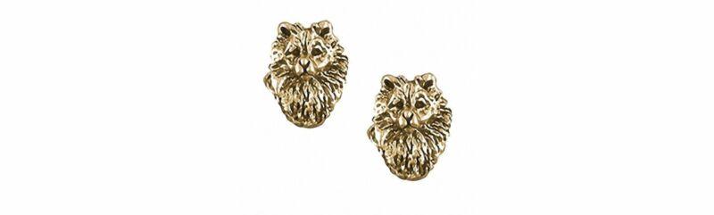Keeshond Jewelry 14k Gold Handmade Keeshond Earrings  KSH1H-EG