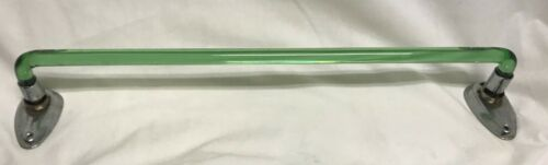 "Antique Depression Curved Bent Green Glass 16"" Towel Bar Metal End Art Deco HTF"