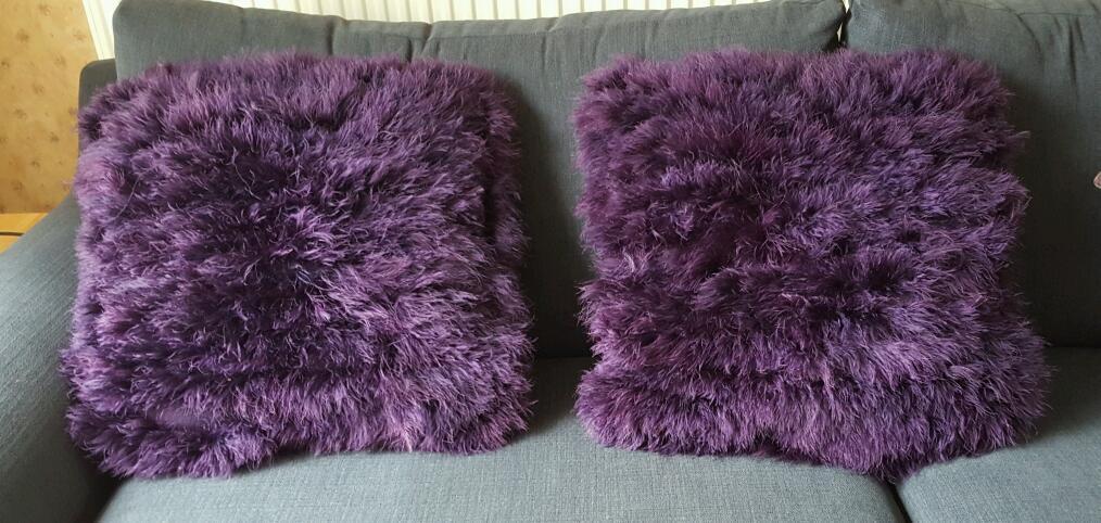 2 Large Debenhams Purple Fluffy Cushions In Sheffield