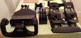 Saitek Pro Flight Yoke System + Throttle Quadrant + Thrustmaster T-Flight Rudder Pedals