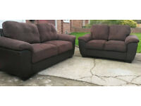 3 and 2 Seater sofas brown