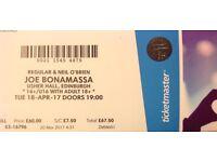Joe Bonamassa Concert Ticket - Usher Hall Edinburgh