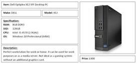 Dell Optiplex XE2 SFF Desktop PC