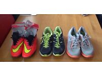 Two pairs of Nike trainers plus footy boots ( Nike ) plus shin pads. Size 11 The lot for £20