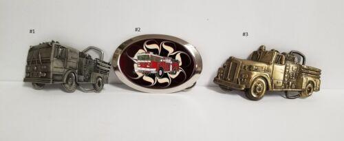 Vintage Fire Truck Belt Buckles, Set of 3