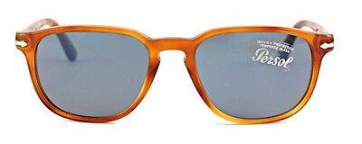 NWT PERSOL Sunglasses PO 3019S 96/56 Light Havana / Crystal Blue 52 MM 9656 (Persol Sunglasses Havana)