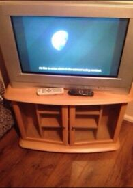 """25"""" tv with free view box and Tv unit"""