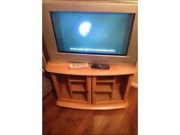 "25"" tv with free view box and Tv unit"