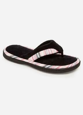 ISOTONER Women's MandyThong Black Microterry w Stripe House Slippers Sturdy Sole