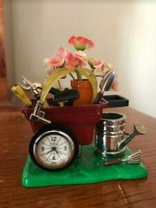 Miniature Collector's Clock- Gardening tools in wheelbarrow