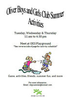 Oliver Boys and Girls Club Summer Activities!