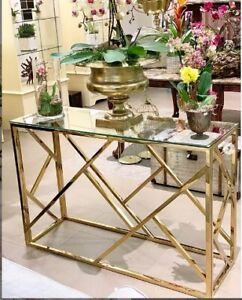 New Modern Stainless Steel Console Table--gold/silver