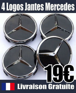 logo jante mercedes cache moyeu centre de roue 75mm noir insigne embleme jantes ebay. Black Bedroom Furniture Sets. Home Design Ideas