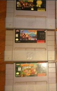 Super nintendo SNES game cartridges: Donkey Kong, 1, 2, 3