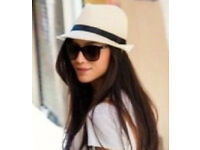 Ladies New White Stylish Trilby Hat with Black Ribbon.One Size Fits All.