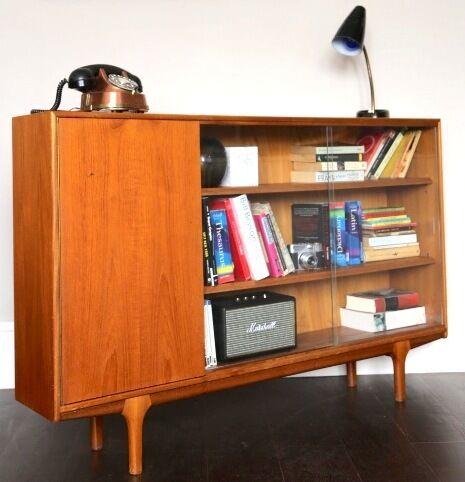 vintage mcintosh teak bookcase display cabinet with sliding glass doors modern mid century