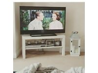 White TV Stand with shelf